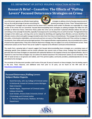 """Image for VRN Research Brief - Ceasefire: The Effects of """"Pulling Levers"""" Focused Deterrence Strategies on Crime"""