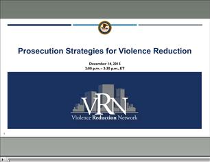 Image for VRN Webinar: Prosecution Strategies for Violence Reduction