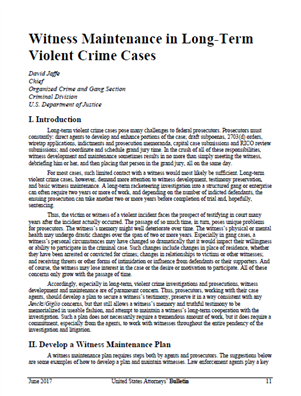 Image for Witness Maintenance in Long-Term Violent Crime Cases